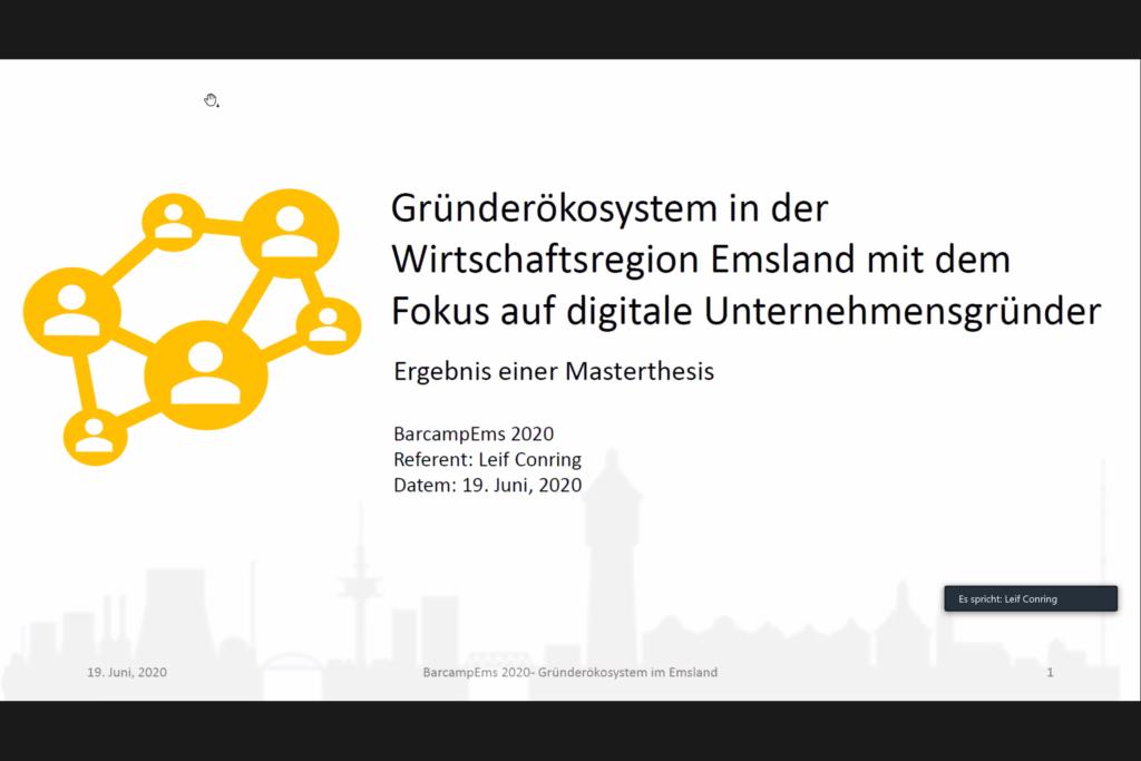 Leif teilt seine Ergebnisse zum Gründerökosystem im Emsland